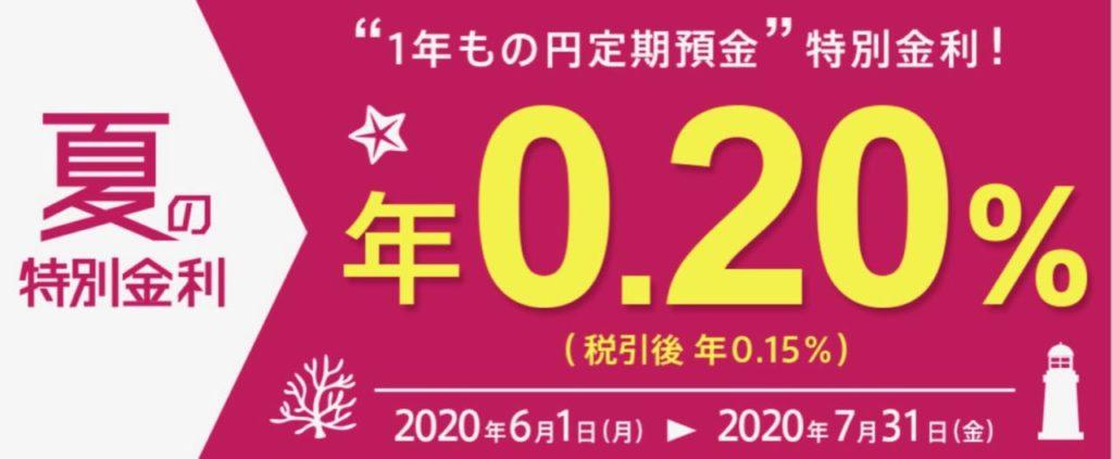 auじぶん銀行定期預金金利0.2%キャンペーン概要